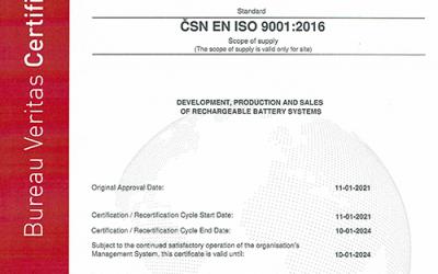 czbt czech battery technologies erhält ISO 9001:2016 – Zertifizierung